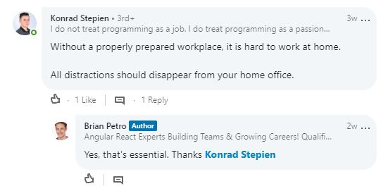 Screenshot of Remote Work Tips comment from software developer Konrad Stepien.