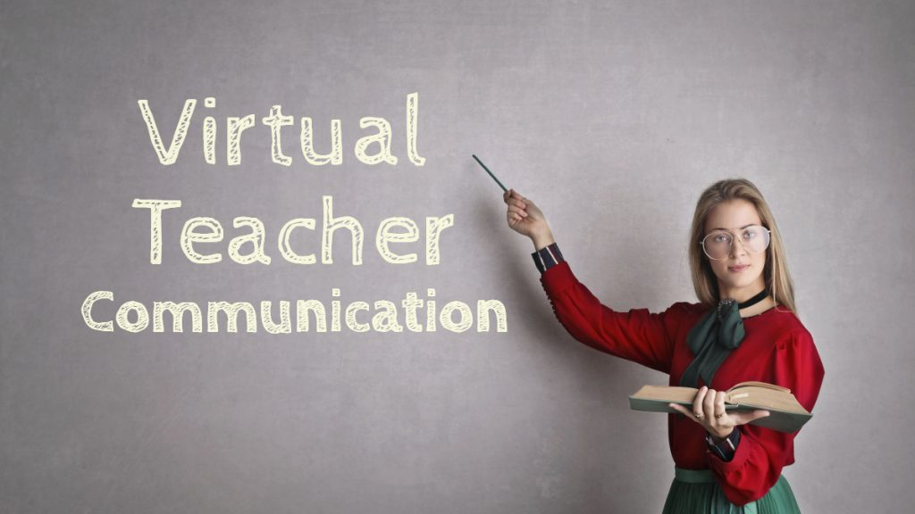 Virtual Teacher Communication Text on Blackboard being pointed at by the teacher holding a book.
