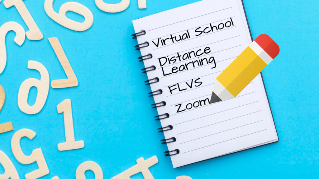 Notepad with Letters and Pencil with Online School FLVS Florida Virtual School Teacher Interview Written on the notepad.