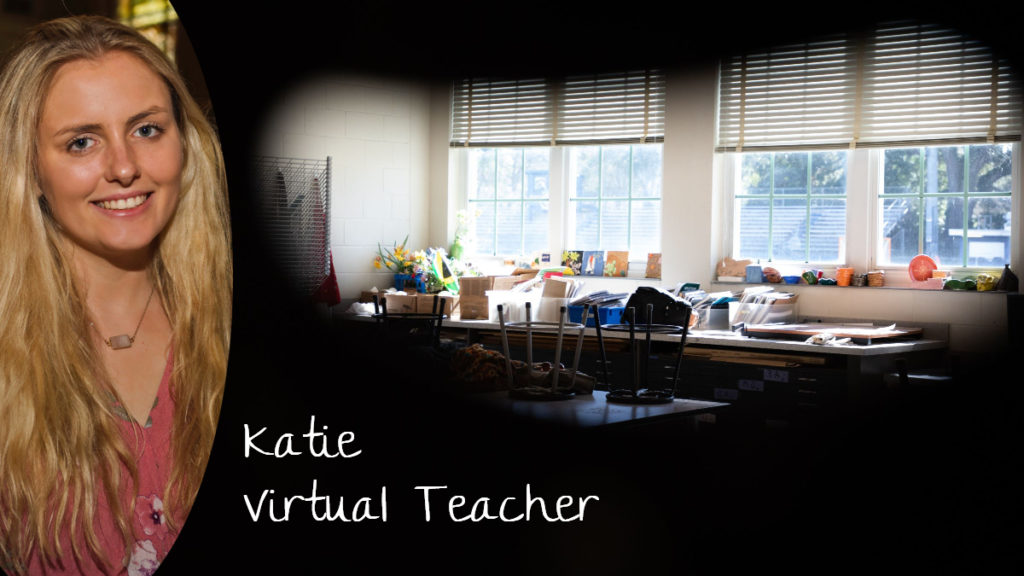 Online teacher Katie teaches English virtually while working from home.