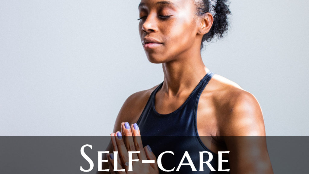 Professional working from home performs yoga with self-care label across the bottom of the image.