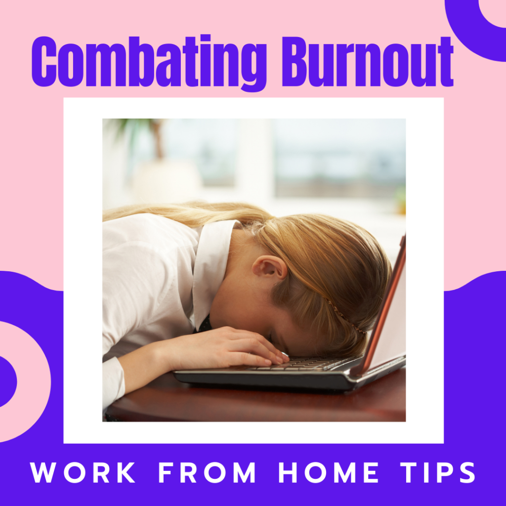 Combating work-from-home burnout image represented by woman with face down on computer.